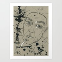hunter s thompson Art Prints featuring Hunter S Thompson by Nicostman