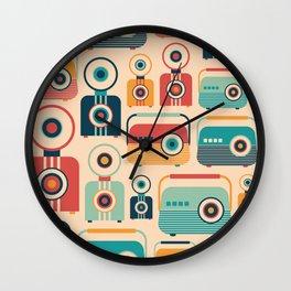 Retro Media Pattern 04 Wall Clock