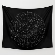 Constellation Map - Black & White Wall Tapestry