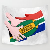 south africa Wall Tapestries featuring South Africa Rugby by mailboxdisco