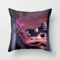 When the boats come in Throw Pillow