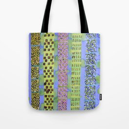 Blue Vertical Stripes and Ornaments  Tote Bag