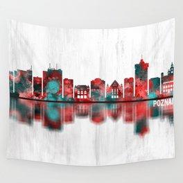 Poznan Poland Skyline Wall Tapestry