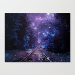 TRAIN tracks Purple Blue Canvas Print