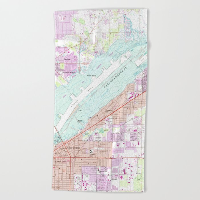 Map Of Fort Myers Florida.Vintage Map Of Fort Myers Florida 1958 Beach Towel By Bravuramedia