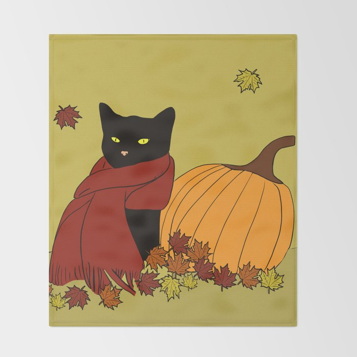 Cascade The Black Cat In Red Scarf With Pumpkin - Fall Throw Blanket