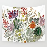 succulents Wall Tapestries featuring Succulents  by Hannah Margaret Illustrations