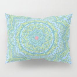 Blue and Green Flower Mandala Pillow Sham