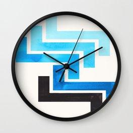 Cerulean Blue Aztec Pattern Mid-century Modern Simple Geometric Pattern Watercolor Minimalist Art Sq Wall Clock
