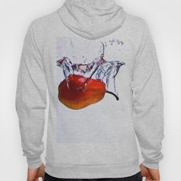 Pear falls into water with a splash on white background Hoody