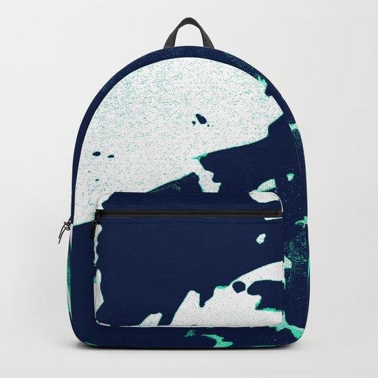 Navy Blue, Black, Blue, Bold Green Wave Backpack