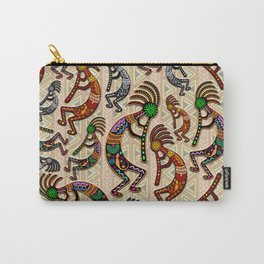Kokopelli Rainbow Colors on Tribal Pattern  Carry-All Pouch