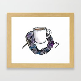 knitting & tea love Framed Art Print
