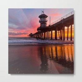 HB Sunsets  3-21-16 - Sunset At The Huntington Beach Pier Metal Print