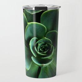 JADE GREEN SUCCULENT ROSETTES DESIGN Travel Mug