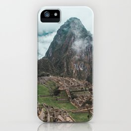 Ancient Inca ruins of Machu Picchu and surrounding Andes mountains in the early morning, Peru iPhone Case