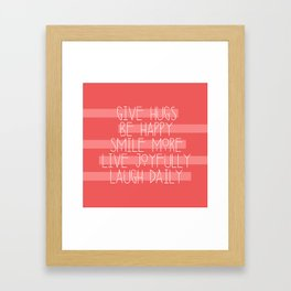Daily Guide In Coral Framed Art Print