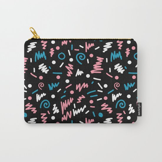 Abstract memphis pattern trendy modern pattern print black and blue Carry-All Pouch