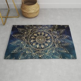 Elegant Gold Mandala Blue Galaxy Design Rug