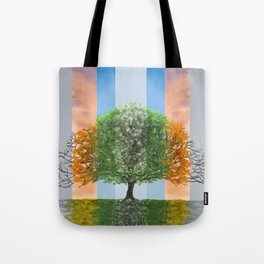 Digital painting of the seasons of the year in a tree Tote Bag