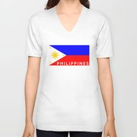 philippines V-neck T-shirts featuring flag of Philippines by tony tudor