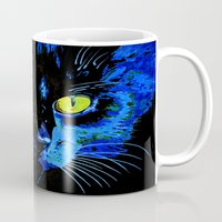 marley Mugs featuring Marley The Cat Portrait With Striking Yellow Eyes by taiche