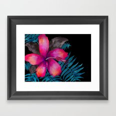 Pink Hibiscus Flower - BLACK Framed Art Print