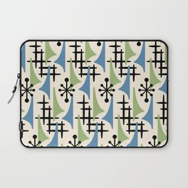 Mid Century Modern Atomic Wing Composition Blue & Sage Laptop Sleeve