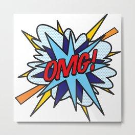 OMG Comic Book Flash Pop Art Fun Cool Graphic  Metal Print