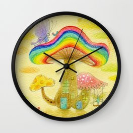 Rainbow Mashroom Wall Clock
