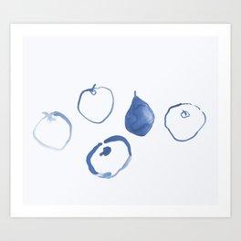 Pommes - Navy Art Print