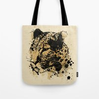 leopard Tote Bags featuring Leopard by DIVIDUS