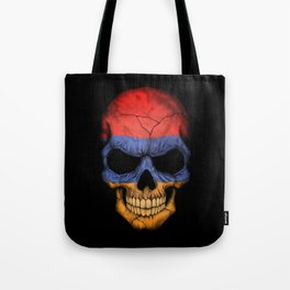 Dark Skull with Flag of Armenia Tote Bag