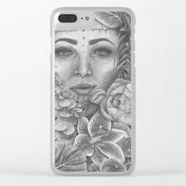 Lady In Bloom Clear iPhone Case