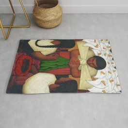 Calla Lilies in white Flower Vendor at the Flower Festival floral portrait painting by Diego Rivera Rug