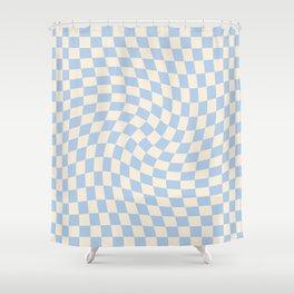 Check II - Baby Blue Twist — Checkerboard Print Shower Curtain