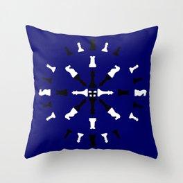 Chess Piece Design - Black and White Throw Pillow