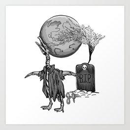 Penguin Zombie -Black and white Art Print