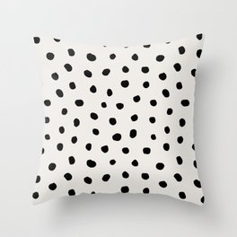 Modern Polka Dots Black on Light Gray Throw Pillow