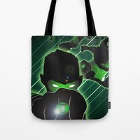 green lantern Tote Bags featuring Green Lantern by Adam Surin Max