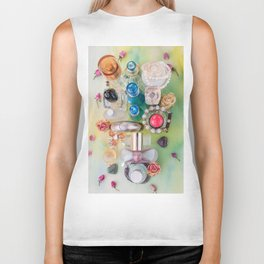Colorful perfume bottles  and jewelries Biker Tank