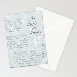 She Walks in Beauty - Lord Byron - poetry Stationery Cards