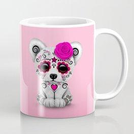 Pink Day of the Dead Sugar Skull Polar Bear Coffee Mug