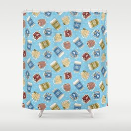 Cozy Mugs - Bg Blue Wood Shower Curtain