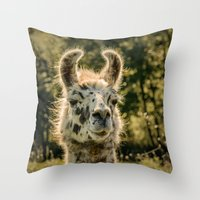 llama Throw Pillows featuring Llama by LudaNayvelt