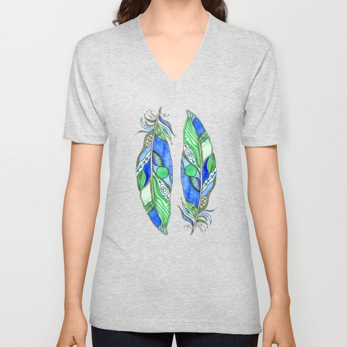 Bohemian Spirit Feathers - Blue & Green Unisex V-Neck