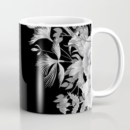 Stardust Black and White Floral Motif Coffee Mug