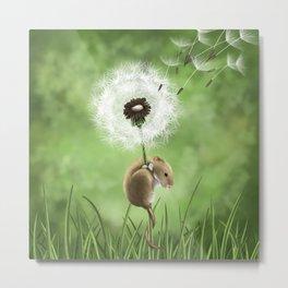 Mouse on a dandelion Metal Print