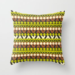 Geometric stripes in brown and neon green Throw Pillow