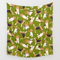 beagle Wall Tapestries featuring beagle scatter green by Sharon Turner
